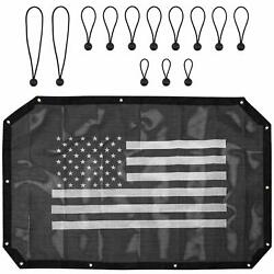 Us Flag Mesh Sun Shade Top Cover Provides Protection For Jeep Wrangler 07-18 An