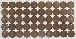 1926 D Lincoln Wheat Cent Penny 1c Roll Vf / Vf+ Very Fine Full Roll 50 Coins