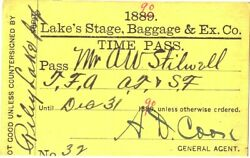 Lake's Stage, Baggage And Express Company - Stagecoach Pass, Kansas 1890
