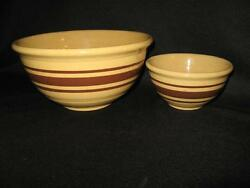 Vintage Yelloware Brown Bands Stoneware Mixing Bowls - Two