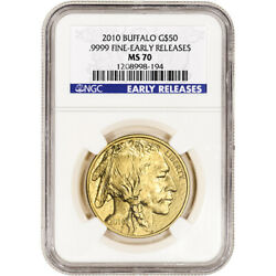 2010 American Gold Buffalo 1 Oz 50 - Ngc Ms70 - Early Releases