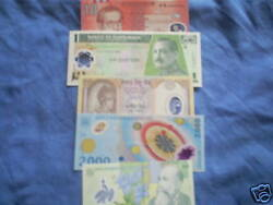 Set Of 5 Diff. World Poly Plastic Currency Most Unc.