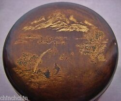 Small Intricately Hand Painted Lacquer Makie Box Japan Or China Museum Quality