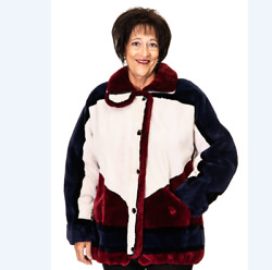 Clearance White Red Blue Sheared Beaver Fur Jacket - S14