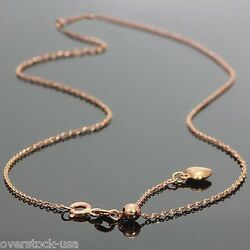 J.lee 17.5inch Solid 18k Rose Gold Necklace O Link Chain With Heart Adjustable