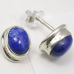 925 Solid Silver Lapis Lazuli Collectible Studs Earrings 0.5 Womenand039s Jewellery