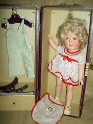 Ideal Shirley Temple 13 Compo. Doll, Two Orig. Tagged Outfits, Pin, Wig And Trunk