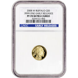 2008-W American Gold Buffalo Proof 1/10 oz $5 - NGC PF70 UCAM Early Releases