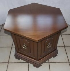 Walnut Mid Century Hexagon End Table / Side Table T803