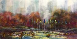 Central Park Skaters New York Wollman Rink 24x48 in. Oil on panel Hall Grat Sr