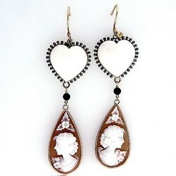 Vintage Heart Angel Skin Coral And Carved Cameo 9k Yellow Gold Dangle Earrings