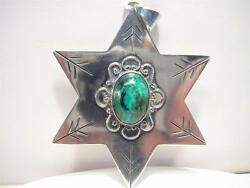 Beautiful Rare Very Large Made In Israel Turquoise Star Or Sheriffs Badge Sale