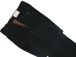 New 179 Orvis Navy Super Cords Pants 46 X 26.5 Flat Front Leather Detail