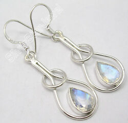 925 Sterling Silver Collectible Blue Fire Rainbow Moonstone Art Earrings 1.8