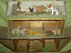 Large Antique Sgnd. Germany, Wooden Noah's Ark, 3-story Stables Stalls And Animals