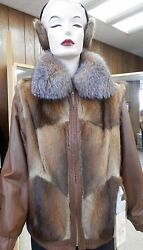 Clearance Muskrat Zip Jacket With Bronze Leather Trim And Earmuffs, Sz 12