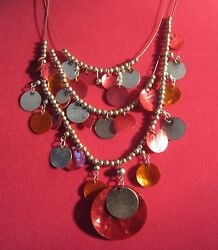 18 Inch Red And Silver Gypsy Styletriple Layerd Fashion Necklace With Ear Rings