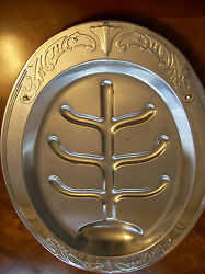 Vintage Silver Serving Platter W/well Footed Meat Carving Tray Oval