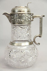 Antique Wandg Sissons Sterling Crystal Claret Jug Ewer Sheffield England Repousse