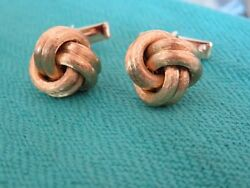 And Co 14k Gold Twisted Knot Solid Cufflinks 16 Mm Round Original