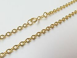 J.lee Stamp Au750 18k Yellow Gold Necklace - 1.2mm O Rolo Link Chain 16.5inch