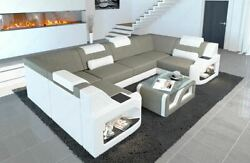 Fabric Sectional Sofa Manhattan U Designer Couch with LED Light