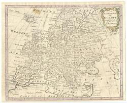 1782 Copper Engraving Hand Colored Bowen Map Europe Poland No Partitions