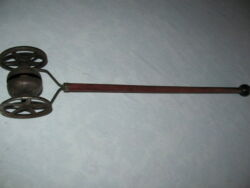Early 1800 Victorian Bell Pull Toy, Iron Wheels,original Wood Red And Blue Paint