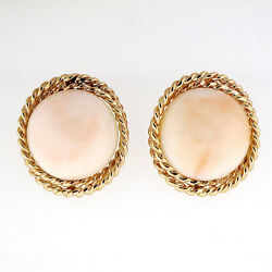Vintage 1950 Natural Light Pink Coral Earrings Twisted Wire Border