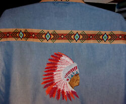 Indian Chief  In Full Feathers Denim Shirt -native American Looking