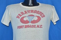 Vintage 40s Paratrooper Fort Bragg Nc Jump Wings Stencil Wwii T-shirt Small S