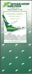 Wings West Airlines System Timetable 1/12/86 [8051] Buy 4+ Save 25