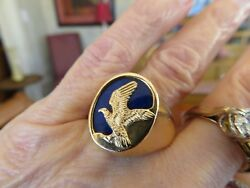 Kabana Manand039s 14k Gold Lapis Eagle Ring 19 X 14 Mm Sz 12 Rare Find