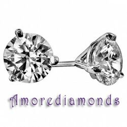 1.5 Ct F Si3 Round Diamond Solitaire 3prong Martini Stud Earrings 18k White Gold