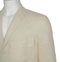 New Polo Sportcoat Jacket 42 Reg  Creme  Flax Linen And Silk
