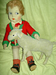 Rare French Antique 1920s Jointed Felt, Eugenie Poir, 17 Jose Boy Doll All Orig