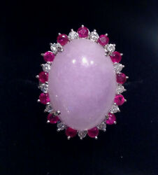 Vintage Fabulous - Lavender Jade, Ruby And Diamond 14k White Gold Lady's Ring Sz.9