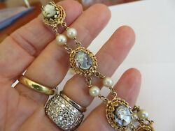 Vintage 14k Yellow Gold Mother Of Pearl Cameos And 6 Mm Pearl Bracelet 8