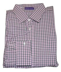 495 Purple Label Mens French Cuff Dress Shirt Italy Check Pink 18