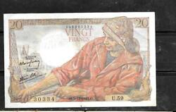 France 100a 1942 20 Francs Vf Circ Old Banknote Paper Money Currency Bill Note