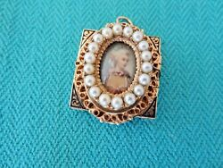Antique 14k Gold Handpainted Pearl And Enamel Lady Pendant Watch 33 X 27 Mm Rare
