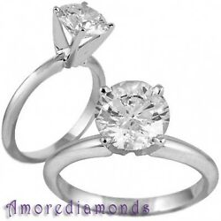 0.45 Ct H Si1 Round Ideal Cut Diamond Solitaire Engagement Ring 18k White Gold