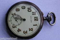 Vintage Ulysse Nardin Locle And Geneve Usa Corps Of Engineers Silver Pocket Watch