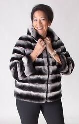 CLEARANCE! Peri Luxe Black Shadow Rex Chinchilla Fur Zip 24