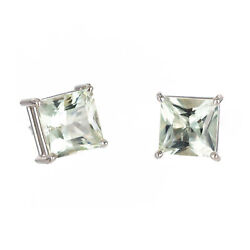 Vintage Rare Square Green-blue 6.13ct Aqua 14k Gold Wire Style Pierced Earrings