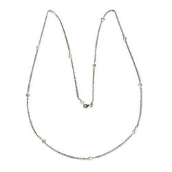 Vintage 1.14ct 22 Inch 14k White Gold Brilliant Diamond By The Yard Necklace