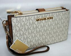New Michael Kors MK Signature Double Zip Phone Case Wallet Wristlet Vanilla $79.00