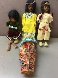 Lot Of 4 Native American Dolls Papoose Sleepy Eyes Leather Apache