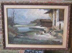 Stunning 19th Century Oil On Canvas Landscape Painting By F Schiller