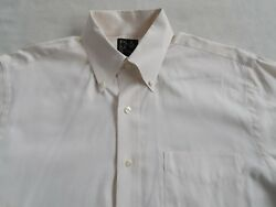 Jos. A. Bank Menand039s Pinpoint S/s Button Down Ivory White Dress Shirt - Size 15-32